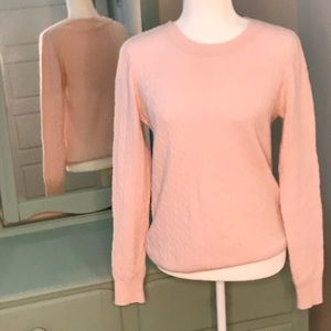 Classic J crew cable knit crew neck sweater pink L